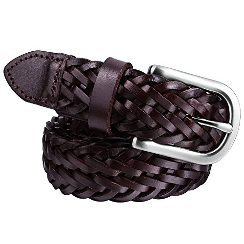 Mens Braided Leather Belt Pin Buckle Belt for Jeans and Dress - Best Gifts for Young Men and Women by HAWSON