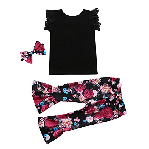 (ZHANGVIP 2018 New 2Pcs Toddler Baby Kids Girls Solid Off Shoulder Tops+Floral Pants Set Outfits (3T, Black II))
