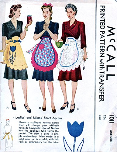 McCalls 1011 Vintage Misses Short Apron with Scallops and Tulip PocketsSewing Pattern, One size, Embroidery transfers included