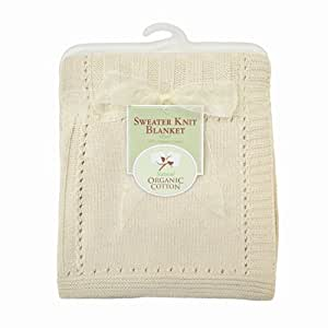 American Baby Company Organic Cotton Sweater Knit Blanket, Natural