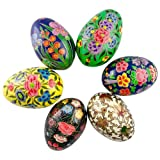 6 Hand Painted Oriental Flowers Wooden Easter Eggs