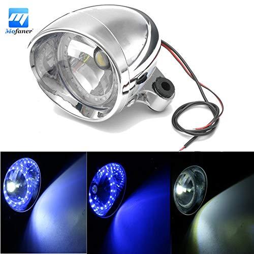 Sala-Ctr - Single 12V Motorcycle Chrome LED Headlight Blue And White Angel Eye Headlamp Spot Light For Honda-Yamaha-Suzuki-Kawasaki ()