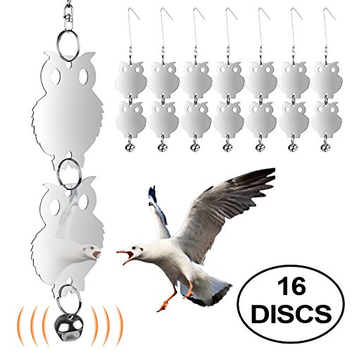 Vctas Bird Repellent Stainless Reflective Owl Bird Scare And Repel Birds,Easy To Hang Deterrent Unwanted Bird Eco-Friendly,Decor Bird Control Device Set Of 16 Discs/8 Bonus Bells (Best Out Of Waste Wind Chime)