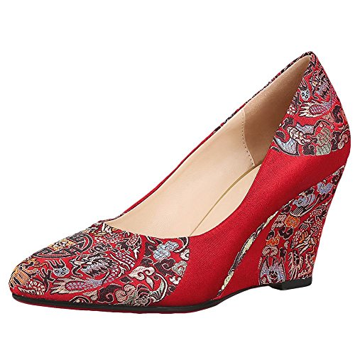 Mee Shoes Women's Charm Embroidery Wedge Heel High Heel Court Shoes Color 3