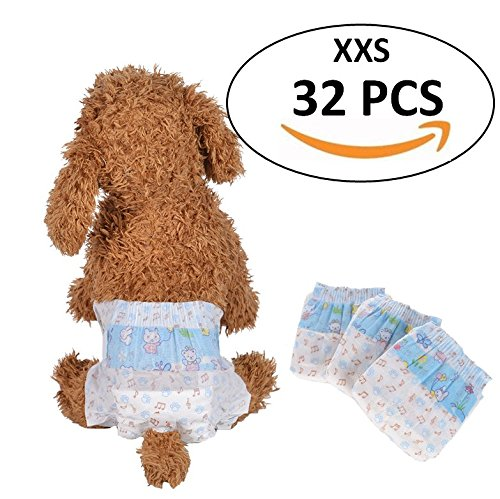Bailuoni Disposable Female Dog Diapers printing dog diapers female small- 32PCS (XXS) by Bailuoni