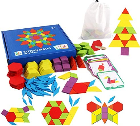 Set of 155 Wooden Pattern Blocks Geometric Manipulative Shape Puzzle Kindergarten Graphical Classic Educational Montessori Tangram Toys for Kids Ages 4-8 Brain Teasers Gift with 24 Pcs Design Cards