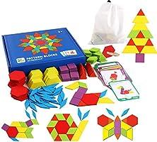 Set of 155 Wooden Pattern Blocks Geometric Manipulative Shape Puzzle Kindergarten Graphical Classic Educational...