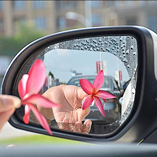 Lecone Rainproof Car Rearview Mirror Sticker, 2 PCS Anti-Fog Anti-Glare Anti-Mist Anti-Scratch Protective Removable Transparent HD Nano Coating Waterproof Film for Vehicle Motorbike Rainy Day