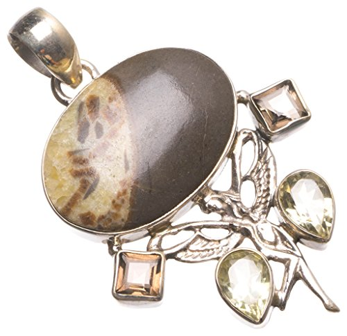 Natural Dragon Septarian,Citrine and Smoky Quartz Handmade Boho 925 Sterling Silver Pendant 2 1/4