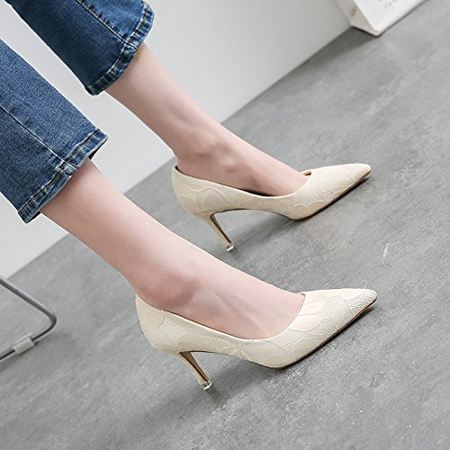 Women Pointed Toe Stiletto High Heels Court Shoes Ladies Slip On Wedding Prom Party Bridal Shoes White 1J9MXcTJ