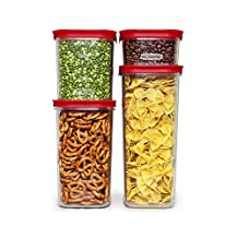 Rubbermaid Modular Canisters, Premium Food Storage Container, BPA-free Zylar, 8-piece Set, Red