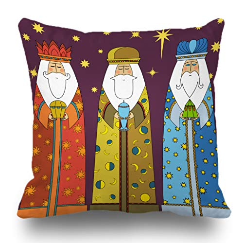 Batmerry Happy Thanksgiving Theme Decorative Pillow Covers 18 x 18 inch, Three Wise Men Christmas Nativity Jesus Christ Artwork Cute Throw Pillows Covers Sofa Cushion Cover Pillowcase Home Gift -