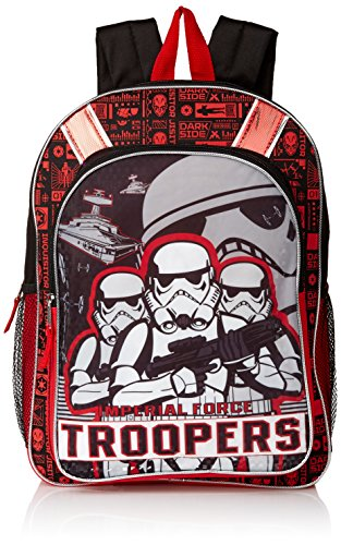 [Disney Boys' Star Wars Episode 7 Storm Troopers Backpack, Black/Red] (Stormtrooper Disney)