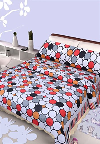 HOME ELITE Polka Print 100% Cotton Double Bedsheet with 2 Pillow Covers , Multicolor