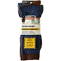 4-Pack Dickies Cotton Blend Performance Work Crew Socks (Size 6-12)