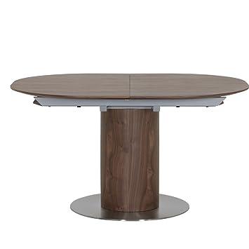 Esstisch rund ausziehbar nussbaum  HOMY Esstisch Holz oval / Nussbaum furniert ausziehbar 1 ...