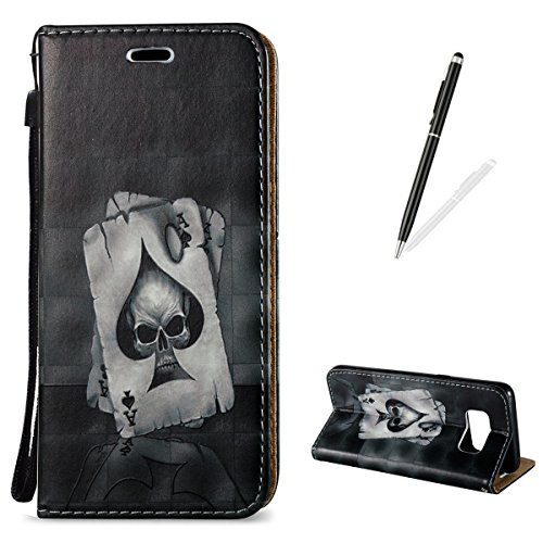 Samsung Galaxy S8 Wallet Case [Free Black Touch Stylus],KaseHom 3D Pattern Design Folio Magnetic Flip Stand PU Leather Protective Case Cover Skin Shell,Ace of Spades ()