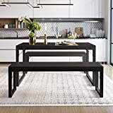 Amolife 3-Piece Modern Industrial Soho Dining Table Set, Sturdy Structure, Metal Frame and MDF Board, Dining/Kitchen Table Set with Benches, Simple Assembly, Space-Saving Furniture