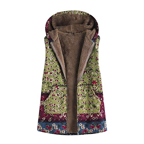 (JOFOW Womens Flannel Lined Vest Boho Floral Print Block Patchwork Hooded Sleeveless Jackets Coat Warm Vintage Plus Size (2XL =US:10-14,Green-Floral))