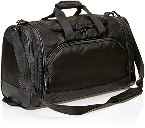 AmazonBasics Small Lightweight Durable Sports Duffel Gym and Overnight Travel Bag - Black