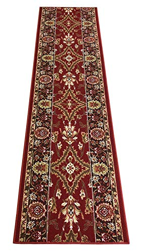 Mahal Persian Rugs Carpets - RugStylesOnline Custom Size Runner Persian Mahal Roll Runner Red 26 Inch Wide x Your Length Size Choice Slip Skid Resistant Rubber Back (Red, 12 ft x 26 in)
