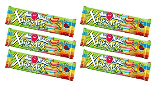 Fruit Extreme (Set of 6 Deliciously Fruity EXTREME Airheads Belts 3oz Bags! All the Chewy Deliciousness of Airheads in Strips!)