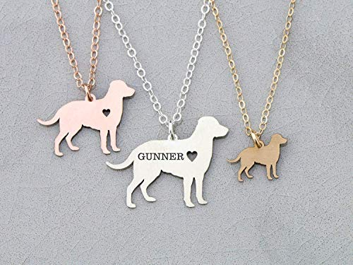 - Labrador Retriever Dog Necklace - IBD - Lab - Personalize with Name or Date - Choose Chain Length - Pendant Size Options - 935 Sterling Silver 14K Rose Gold Filled Charm - Ships in 1 Business Day
