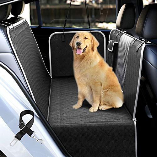 UPODA Dog Car Seat Covers with Mesh Visual Window for Back Seat, Waterproof Nonslip Pet Car Seat Cover Scratchproof Dog Car Hammock with Dog Seat Belts & Storage Pockets for Trucks SUVs (Black)