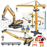 Fine Construction Vehicle Truck Toy Set,Alloy Engineering Truck Excavator Forklift with Road Signs Model, Mini Plastic Playset for Kids Boys Girl Educational Gift (Yellow)