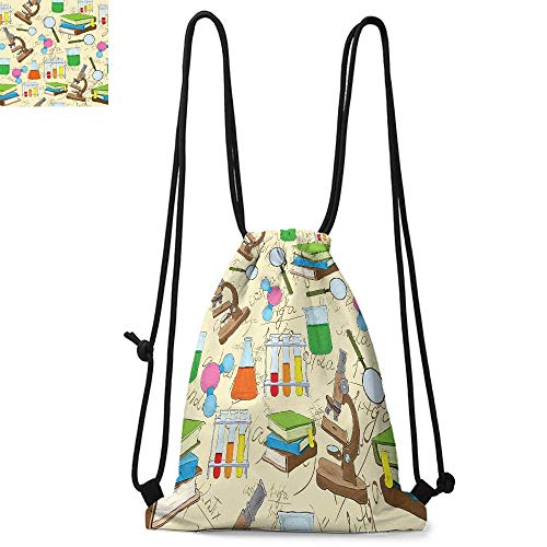 Kids Printed drawstring backpack Science Education Lab Sketch Books Equation Loupe Microscope Molecule Flask Print Suitable for school or travel W17.3 x L13.4 Inch Multicolor