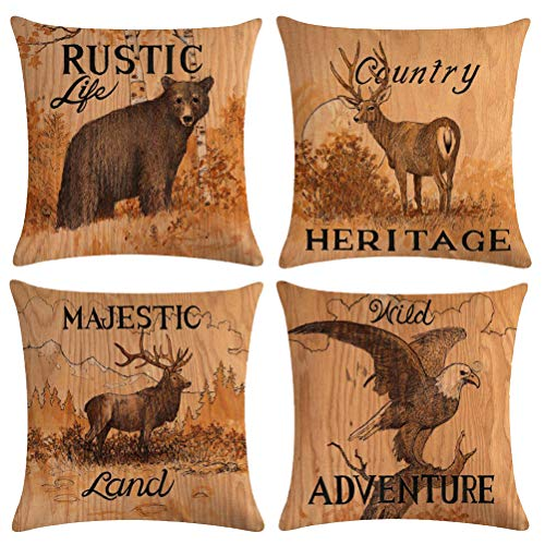 4Pack Wild Animals Throw Pillow Covers With Deer Moose Bear Eagle Pattern Vintage Country Rustic Majestic Wildlife in Forest Mountain Cotton Linen Cushion Cover Pillow Cases 18 x 18 inches (Animals) ()