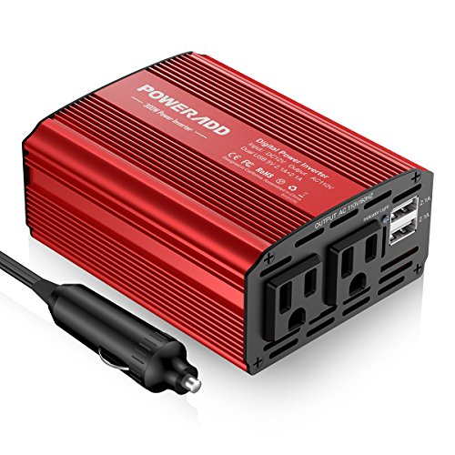 Poweradd 300W Car Power Inverter DC 12V to AC 110V Converter with Dual 3.1A Dual USB Ports for Smartphones, Tablet, Laptop, Breast pump, Nebulizer and More - Red by Poweradd