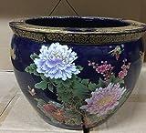 """12"""" Oriental Cobalt Blue with Vibrant Color Flowers Fish Bowl Jardiniere Planter Plant Pot"""