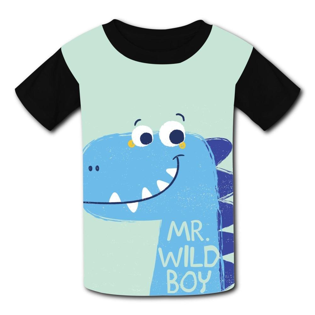 riverccc6.1500 Cute Dinosaur Mr.Wild Boy Youth T-Shirt Boys Girls Tee