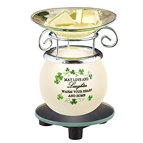 Irish Saying Wax Warmer with Shamrocks St. Patrick's Day Decoration (St Pats Figurines)