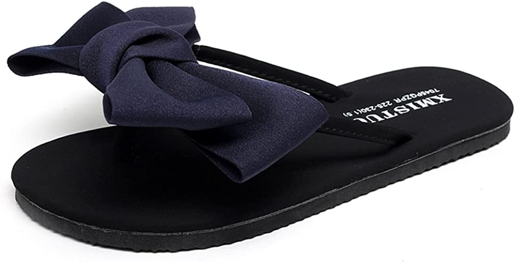 Cattior Womens Big Bows Cute House Slippers Thong Flip Flops House Outdoor Slippers