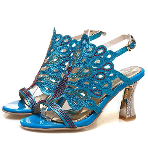 Femmes Mesdames Paillettes Sandales Bloc Haut Talon Slingback Parti De Mariage De Bal De Mariage Chaussures Taille Blue DsVw9iUQsr