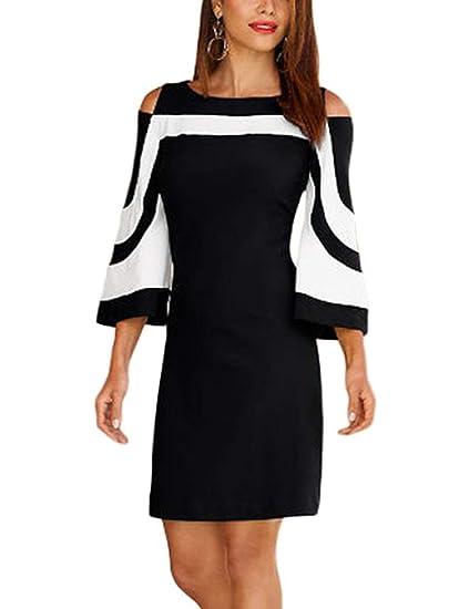 SEBOWEL Women s Chic Colorblock Casual Cold Shoulder Bell Sleeve Elegant  Mini Dress Black-S ee5aefd4fcc9