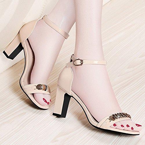 Femminili con alti col scarpe fibbia scarpe femminili sandali Jqdyl Tacchi tacco spessi estivi Nuovi superficiale estive alto Scarpe Beige bocca 0FBXxp