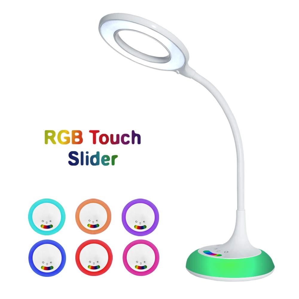 Crypto DLR100 Lampada da tavolo a LED da 8W 450 lumen, controllo tattile, 3 livelli di regolazione del colore, attenuazione continua, luce ambientale RGB, luce notturna, memoria impostazione, protezione degli occhi per lettura e lavoro, bra