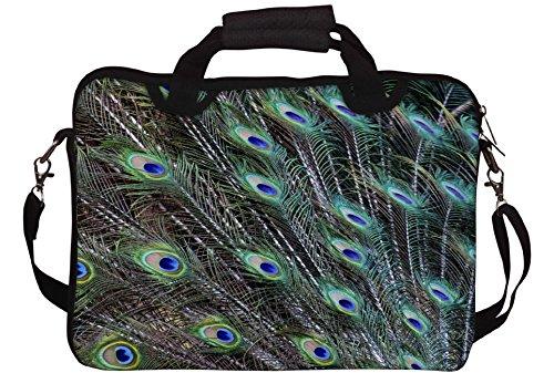 Snoogg Pfauenfedern Bild Gedruckt Notebook-Tasche mit Schultergurt 15 bis 15,6 Zoll