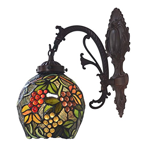 Bieye Grape Tiffany Style Stained Glass Wall Sconce Lamp