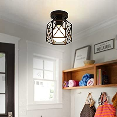 RUXUE Industrial Modern Semi Flush Mount Ceiling Light with Square Cage Black for Hallway Closet