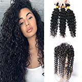 Deep Wave 360 Lace Frontal With 3 Bundles Brazilian Remy Human Hair Weave With Baby Hair Natural Hairline Looking Pre Plucked 150% Density Next Day Delivery 16 18 20 +14 (360)