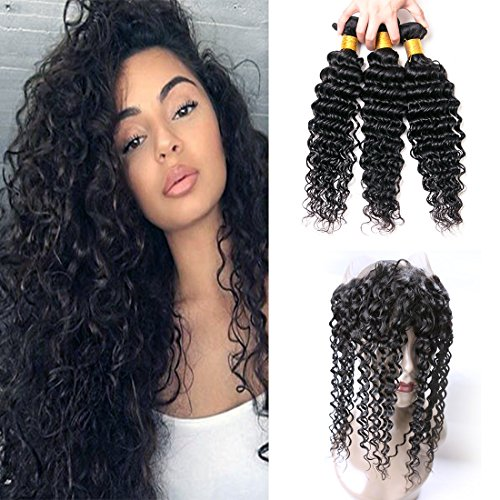 Deep Wave 360 Lace Frontal With 3 Bundles Brazilian Remy Human Hair Weave With Baby Hair Natural Hairline Looking Pre Plucked 150% Density Next Day Delivery 16 18 20 +14 (360) by KAFEIER