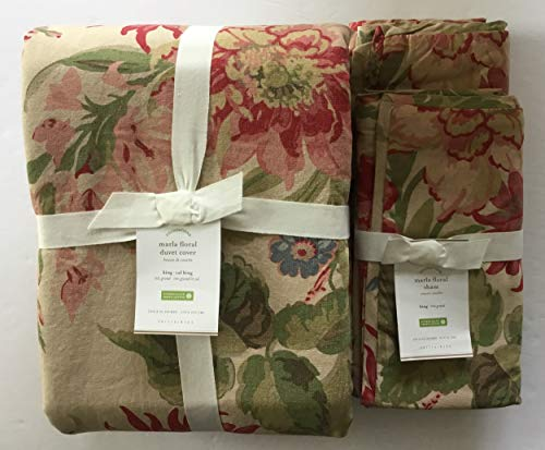 Pottery Barn Marla Floral Duvet Cover King/California King & Two King Shams (King Duvet Covers Barn Pottery)