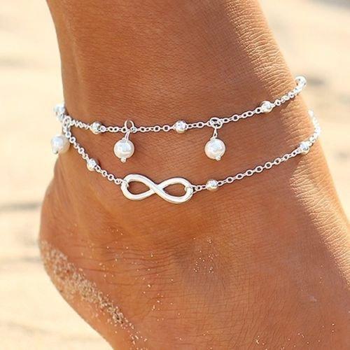Women Fashion Double Chain Ankle Anklet Bracelet Barefoot Sandal Beach Foot Gift