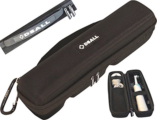 """Price comparison product image DSall Hard case Travel Bag""""NO FOAM=NO SMELL""""for braun Oral-B Pro 1000 Power Rechargeable Electric Toothbrush&Oral B 5000 &Oral B 3000-Rubber handle-2 Pullers-Water resistant+Carabiner""""TRAVEL N STYLE"""