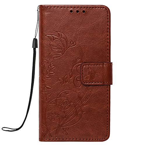 XYX Phone Case for Galaxy Avant,Galaxy G386T Cover,Emboss Flower PU Leather Wallet Phone Case for Samsung Galaxy Avant G386T,Brown (Samsung Avant Wallet Phone Case)