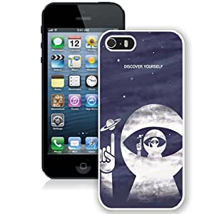 Beautiful Designed Antiskid Cover Case For iPhone 5S Phone Case With Discover Yourself Astrounaut Helmet_White Phone Case